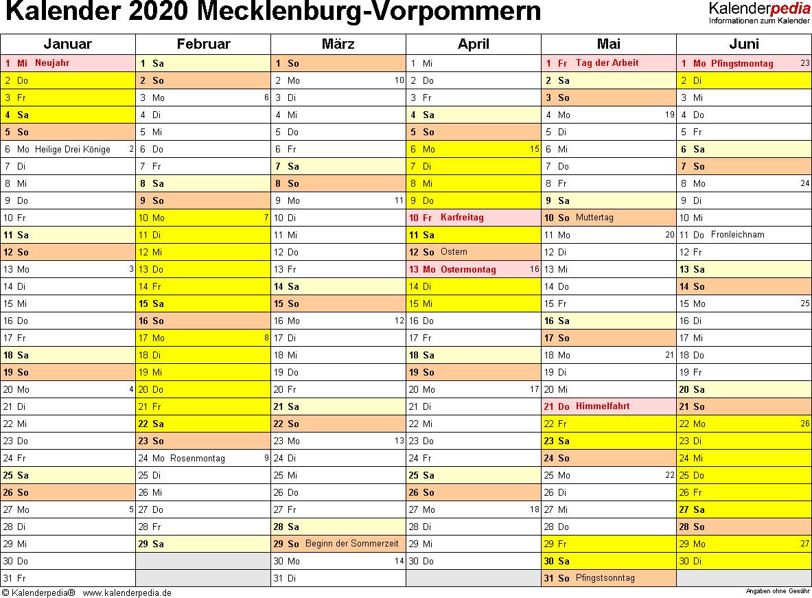 Vorlage 3: Kalender 2020 für Mecklenburg-Vorpommern als Excel-Vorlagen (Querformat, 2 Seiten)