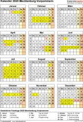 Vorlage 8: Kalender Mecklenburg-Vorpommern 2020 als Excel-Vorlage (Hochformat)