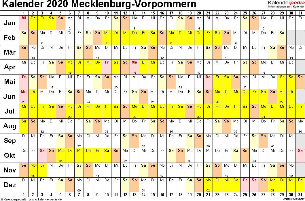 Vorlage 2: Kalender Mecklenburg-Vorpommern 2020 im Querformat, Tage nebeneinander