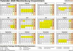 Vorlage 4: Kalender 2020 für Mecklenburg-Vorpommern als PDF-Vorlage (Querformat, 1 Seite, Jahresübersicht)