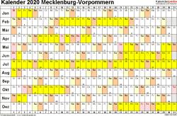 Vorlage 3: Kalender Mecklenburg-Vorpommern 2020 im Querformat, Tage nebeneinander
