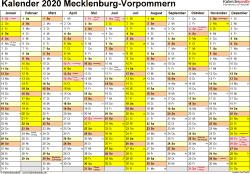 Vorlage 1: Kalender 2020 für Mecklenburg-Vorpommern als Excel-Vorlagen (Querformat, 1 Seite)