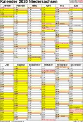 Vorlage 6: Kalender Niedersachsen 2020 als PDF-Vorlage (Hochformat)