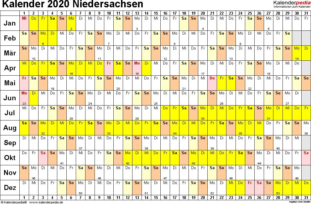 Vorlage 3: Kalender Niedersachsen 2020 im Querformat, Tage nebeneinander