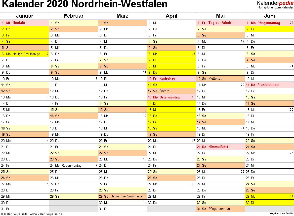 Vorlage 2: Kalender 2020 für Nordrhein-Westfalen (NRW) als Excel-Vorlagen (Querformat, 2 Seiten)