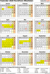Vorlage 4: Kalender NRW 2020 als Excel-Vorlage (Hochformat)