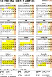 Vorlage 8: Kalender Nordrhein-Westfalen (NRW) 2020 als Excel-Vorlage (Hochformat)