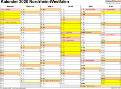 Vorlage 2: Kalender 2020 für Nordrhein-Westfalen (NRW) als Excel-Vorlage (Querformat, 2 Seiten)