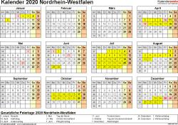 Vorlage 4: Kalender 2020 für Nordrhein-Westfalen (NRW) als Excel-Vorlage (Querformat, 1 Seite, Jahresübersicht)