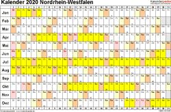 Vorlage 3: Kalender Nordrhein-Westfalen (NRW) 2020 im Querformat, Tage nebeneinander