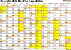 Vorlage 1: Kalender 2020 für Nordrhein-Westfalen (NRW) als Excel-Vorlage (Querformat, 1 Seite)