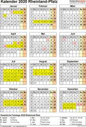 Vorlage 8: Kalender Rheinland-Pfalz 2020 als Word-Vorlage (Hochformat)