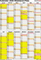 Vorlage 5: Kalender Rheinland-Pfalz 2020 als Word-Vorlage (Hochformat)