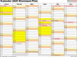 Vorlage 2: Kalender 2020 für Rheinland-Pfalz als Word-Vorlage (Querformat, 2 Seiten)