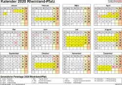 Vorlage 4: Kalender 2020 für Rheinland-Pfalz als Excel-Vorlage (Querformat, 1 Seite, Jahresübersicht)