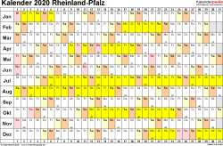 Vorlage 3: Kalender Rheinland-Pfalz 2020 im Querformat, Tage nebeneinander