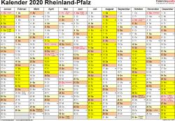 Vorlage 1: Kalender 2020 für Rheinland-Pfalz als Word-Vorlage (Querformat, 1 Seite)