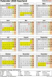 Vorlage 8: Kalender Saarland 2020 als Excel-Vorlage (Hochformat)