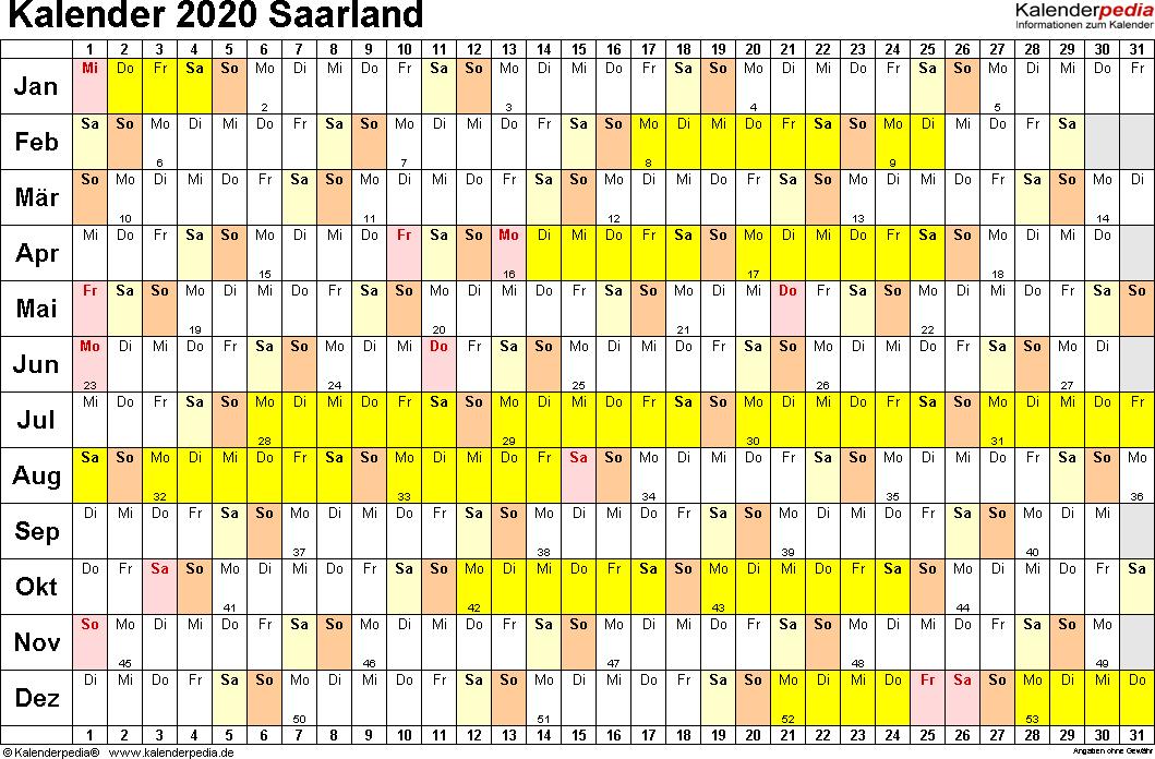 Vorlage 2: Kalender Saarland 2020 im Querformat, Tage nebeneinander