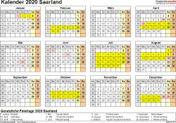 Vorlage 4: Kalender 2020 für Saarland als Excel-Vorlage (Querformat, 1 Seite, Jahresübersicht)
