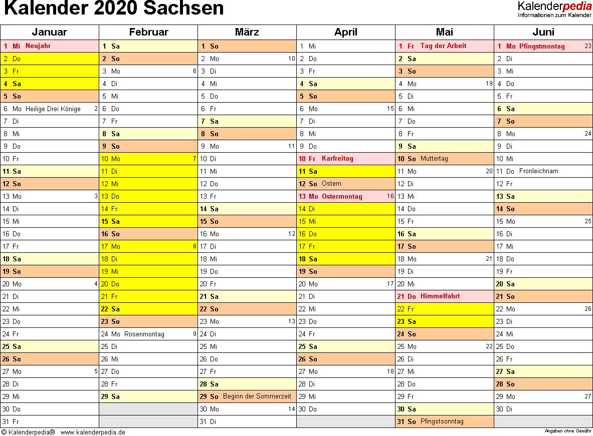 Vorlage 3: Kalender 2020 für Sachsen als Excel-Vorlagen (Querformat, 2 Seiten)