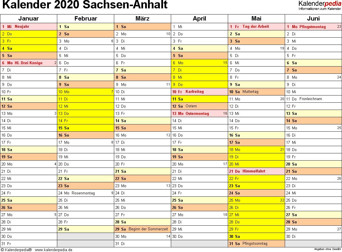 Vorlage 3: Kalender 2020 für Sachsen-Anhalt als Excel-Vorlagen (Querformat, 2 Seiten)