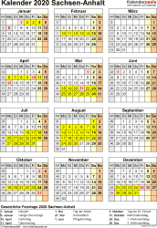 Vorlage 4: Kalender Sachsen-Anhalt 2020 als Excel-Vorlage (Hochformat)