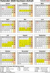 Vorlage 8: Kalender Sachsen-Anhalt 2020 als Word-Vorlage (Hochformat)