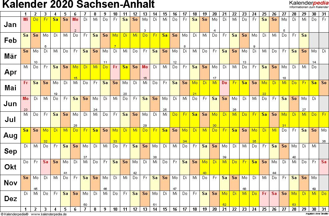 Vorlage 2: Kalender Sachsen-Anhalt 2020 im Querformat, Tage nebeneinander