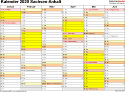 Vorlage 2: Kalender 2020 für Sachsen-Anhalt als Word-Vorlage (Querformat, 2 Seiten)