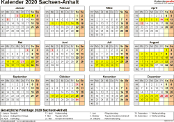 Vorlage 4: Kalender 2020 für Sachsen-Anhalt als Word-Vorlage (Querformat, 1 Seite, Jahresübersicht)