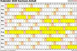 Vorlage 3: Kalender Sachsen-Anhalt 2020 im Querformat, Tage nebeneinander