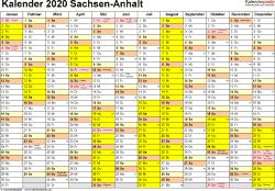 Vorlage 1: Kalender 2020 für Sachsen-Anhalt als Excel-Vorlagen (Querformat, 1 Seite)
