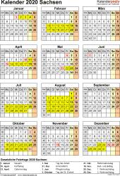 Vorlage 4: Kalender Sachsen 2020 als Excel-Vorlage (Hochformat)