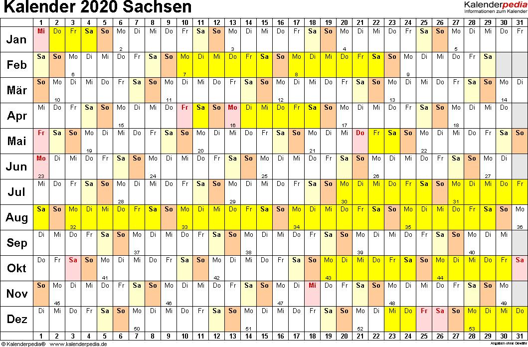 Vorlage 2: Kalender Sachsen 2020 im Querformat, Tage nebeneinander