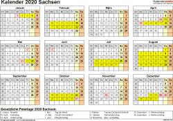 Vorlage 4: Kalender 2020 für Sachsen als Word-Vorlage (Querformat, 1 Seite, Jahresübersicht)