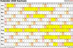 Vorlage 3: Kalender Sachsen 2020 im Querformat, Tage nebeneinander