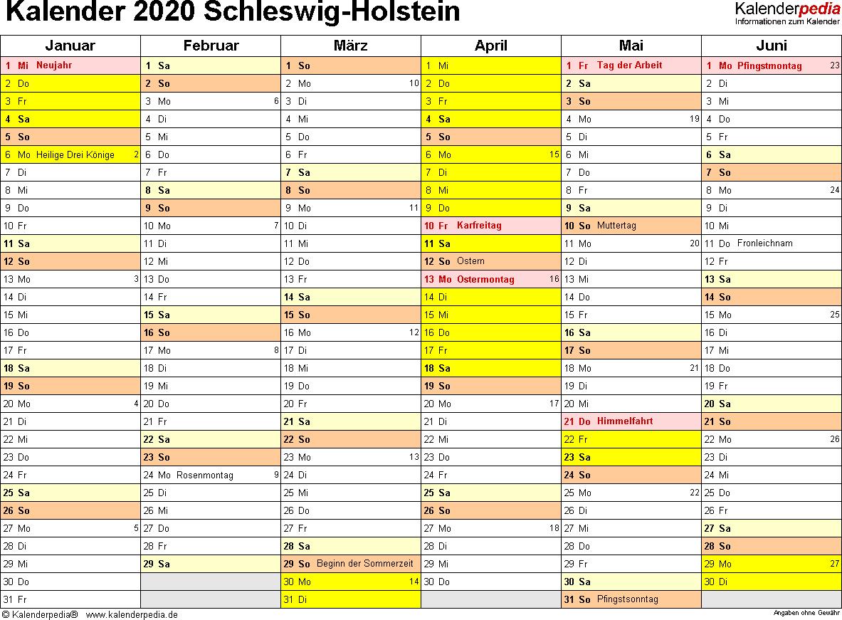 Vorlage 3: Kalender 2020 für Schleswig-Holstein als Excel-Vorlagen (Querformat, 2 Seiten)