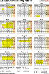 Vorlage 4: Kalender Schleswig-Holstein 2020 als Excel-Vorlage (Hochformat)