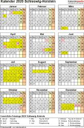 Vorlage 8: Kalender Schleswig-Holstein 2020 als PDF-Vorlage (Hochformat)