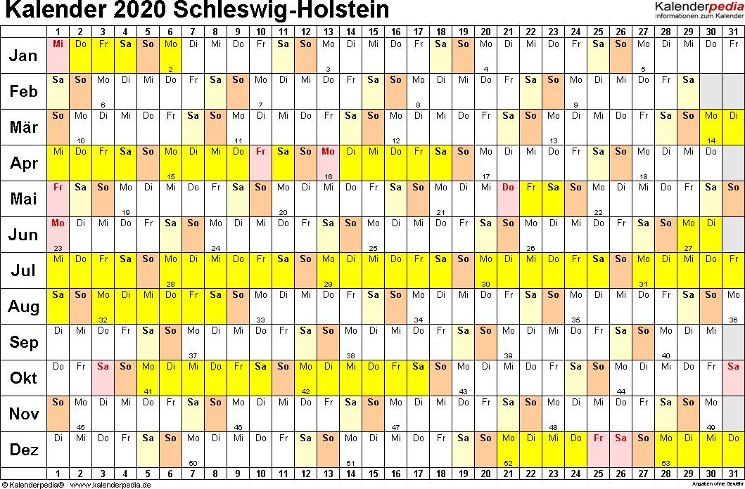 Vorlage 2: Kalender Schleswig-Holstein 2020 im Querformat, Tage nebeneinander