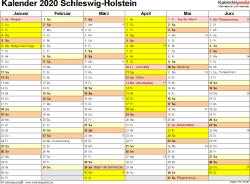 Vorlage 2: Kalender 2020 für Schleswig-Holstein als PDF-Vorlage (Querformat, 2 Seiten)