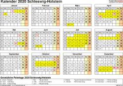 Vorlage 4: Kalender 2020 für Schleswig-Holstein als PDF-Vorlage (Querformat, 1 Seite, Jahresübersicht)