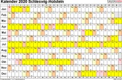 Vorlage 3: Kalender Schleswig-Holstein 2020 im Querformat, Tage nebeneinander