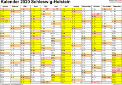 Vorlage 1: Kalender 2020 für Schleswig-Holstein als PDF-Vorlage (Querformat, 1 Seite)