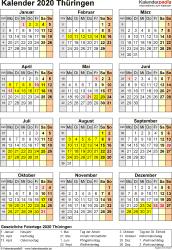 Vorlage 4: Kalender Thüringen 2020 als Excel-Vorlage (Hochformat)