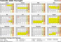 Vorlage 4: Kalender 2020 für Thüringen als Word-Vorlage (Querformat, 1 Seite, Jahresübersicht)