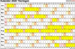 Vorlage 3: Kalender Thüringen 2020 im Querformat, Tage nebeneinander