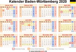 Kalender 2020 Baden-Württemberg