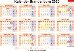 Kalender 2020 Brandenburg